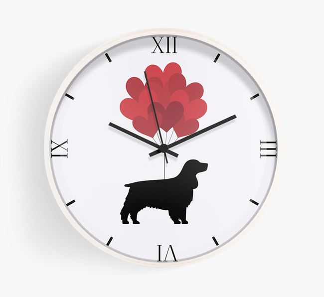 Heart Balloons Wall Clock with Springer Spaniel Silhouette