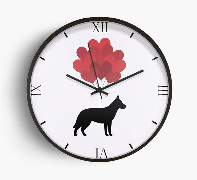 Heart Balloons Wall Clock with Tamaskan Silhouette