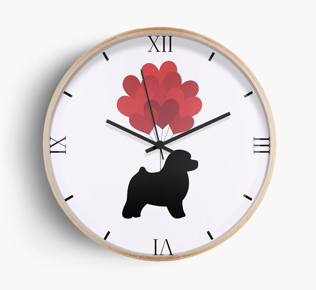 Heart Balloons Wall Clock with Toy Poodle Silhouette