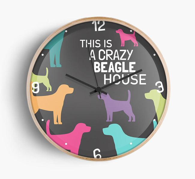 'This is a crazy Beagle House' Wall Clock