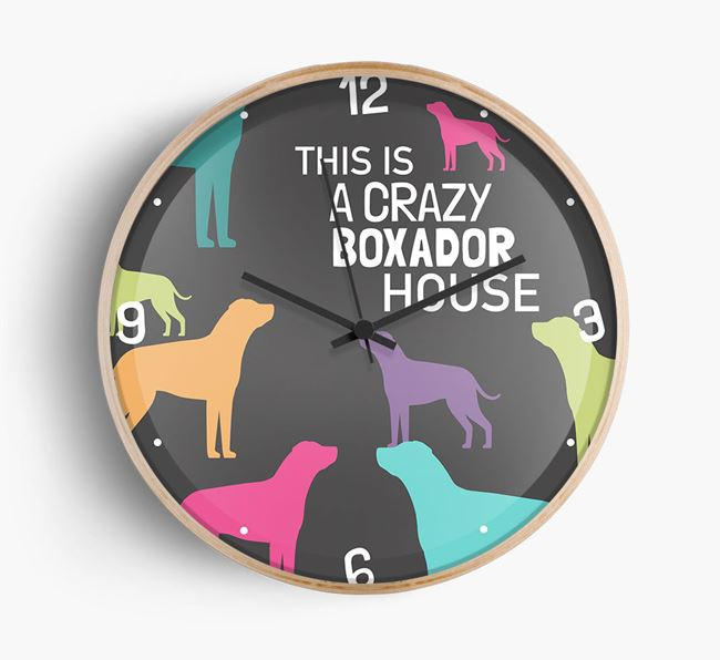 'This is a crazy Boxador House' Wall Clock
