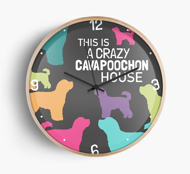 'This is a crazy Cavapoochon House' Wall Clock