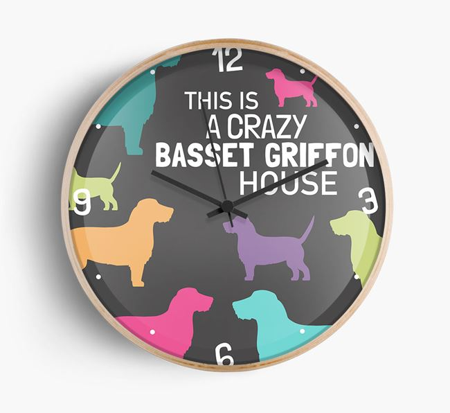 'This is a crazy Basset Griffon House' Wall Clock