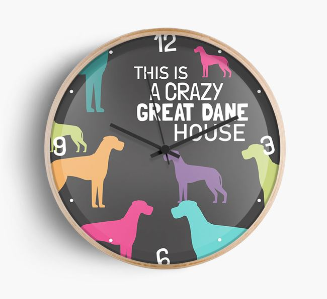 'This is a crazy Great Dane House' Wall Clock