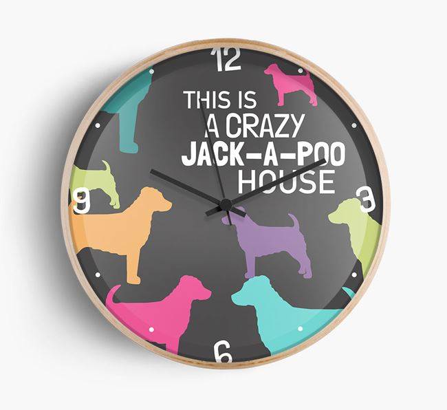 'This is a crazy Jack-a-Poo House' Wall Clock