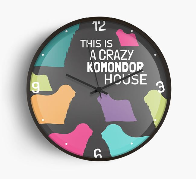 'This is a crazy Komondor House' Wall Clock