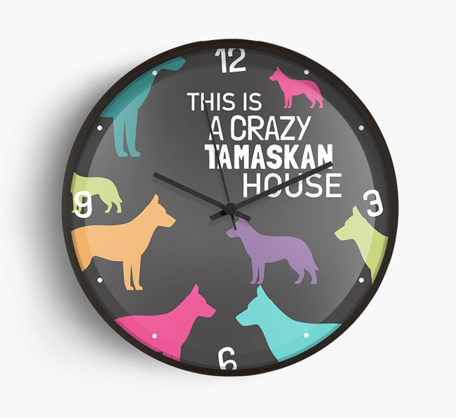 'This is a crazy Tamaskan House' Wall Clock