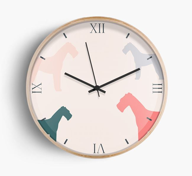 Airedale Silhouette Pattern Wall Clock