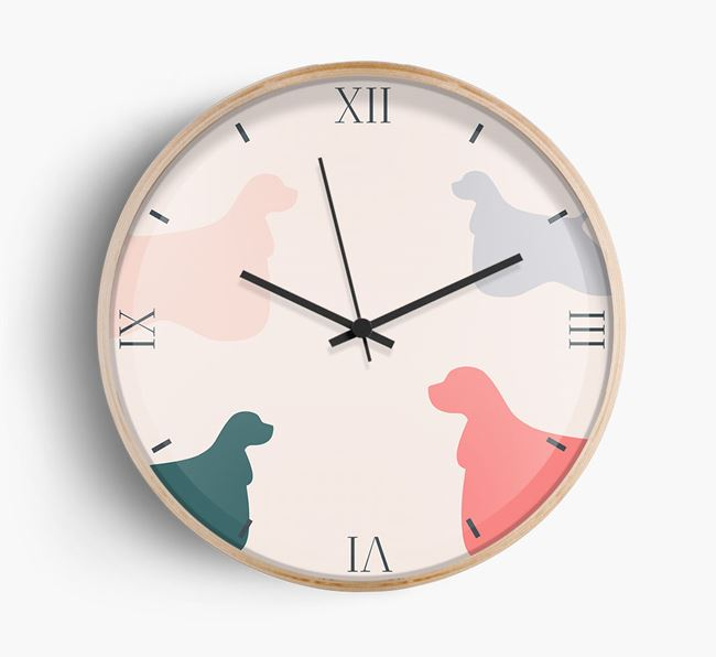 Cocker Spaniel Silhouette Pattern Wall Clock