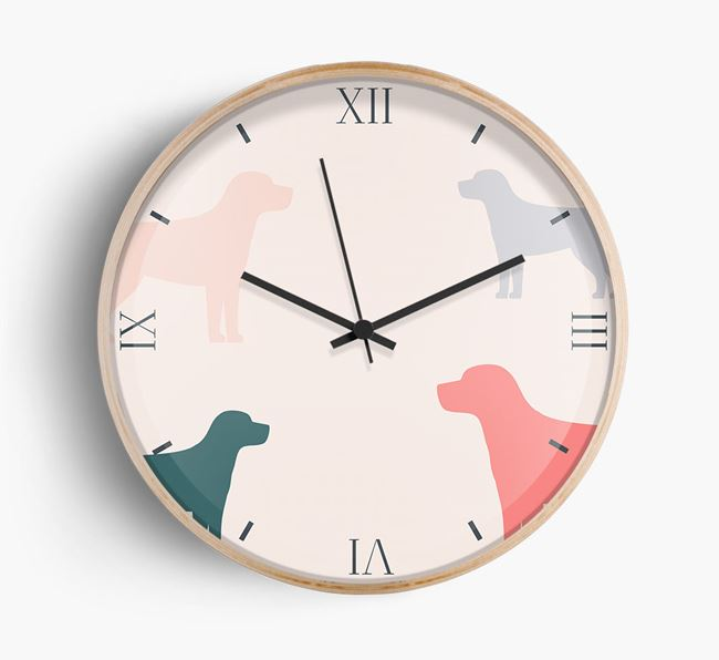 Beagle Silhouette Pattern Wall Clock