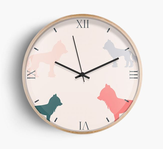 Chinese Crested Silhouette Pattern Wall Clock