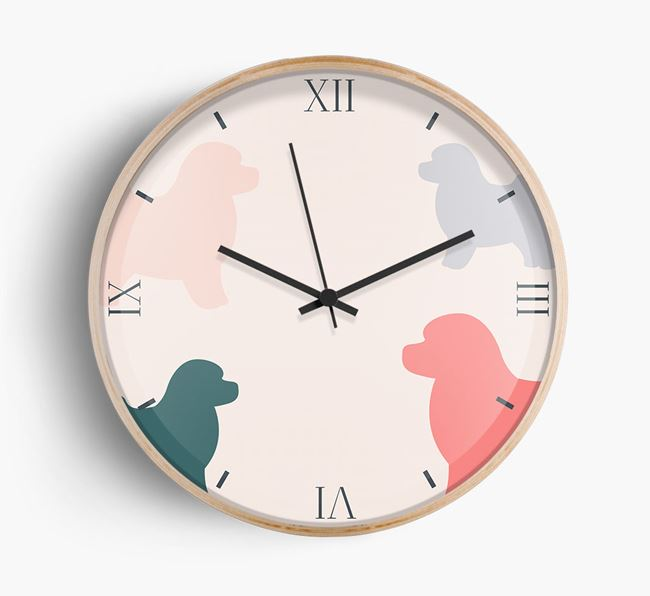 Toy Poodle Silhouette Pattern Wall Clock