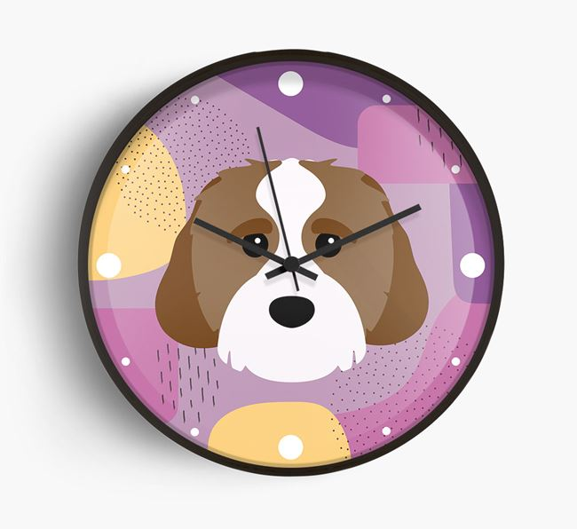 'Abstract' - Personalised Wall Clock with Cavachon Icon