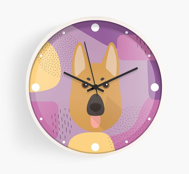 'Abstract' - Personalised Wall Clock with German Shepherd Icon