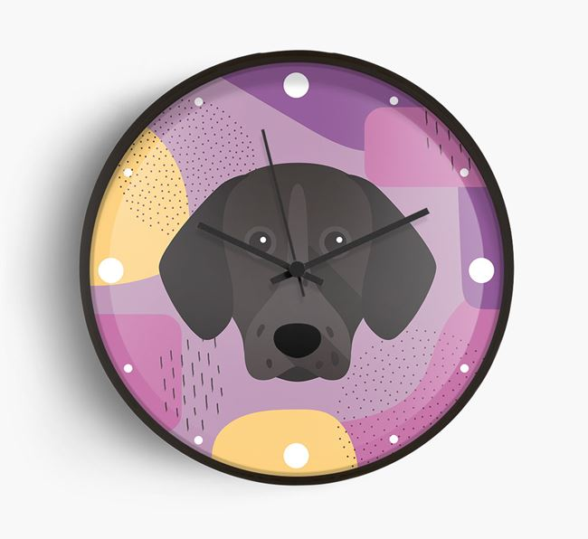 'Abstract' - Personalised Wall Clock with German Shorthaired Pointer Icon