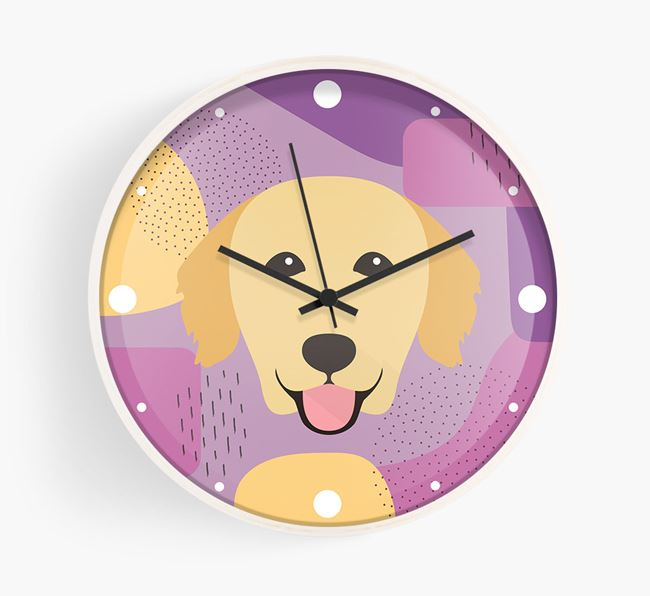 'Abstract' - Personalised Wall Clock with Golden Retriever Icon