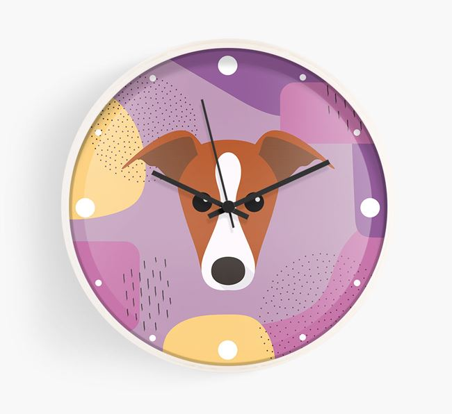 'Abstract' - Personalised Wall Clock with Greyhound Icon
