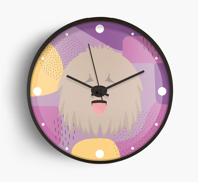 'Abstract' - Personalised Wall Clock with Komondor Icon