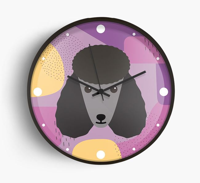 'Abstract' - Personalised Wall Clock with Poodle Icon