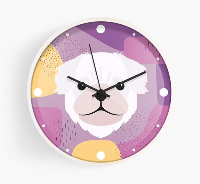 'Abstract' - Personalised Wall Clock with Pug Icon