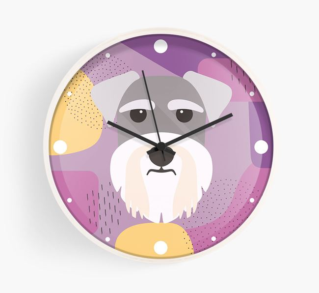 'Abstract' - Personalised Wall Clock with Schnauzer Icon