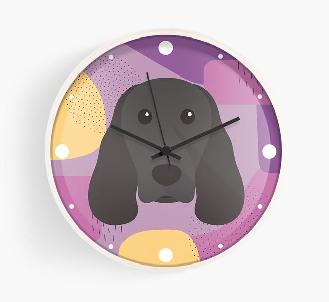 'Abstract' - Personalised Wall Clock with Springer Spaniel Icon