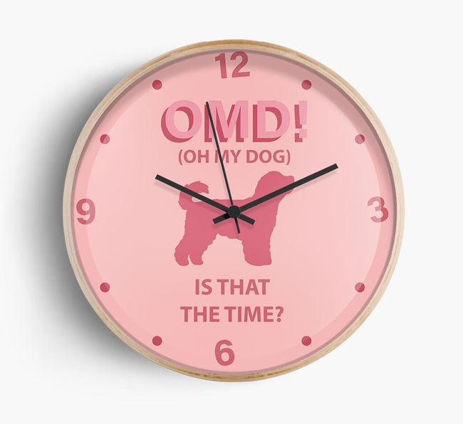 'Oh My Dog!' Wall Clock with Cavapoochon Silhouette