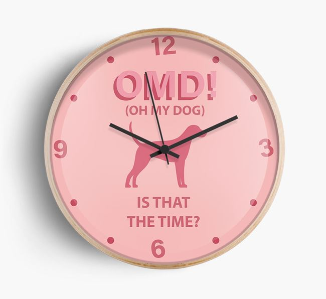 'Oh My Dog!' Wall Clock with Foxhound Silhouette