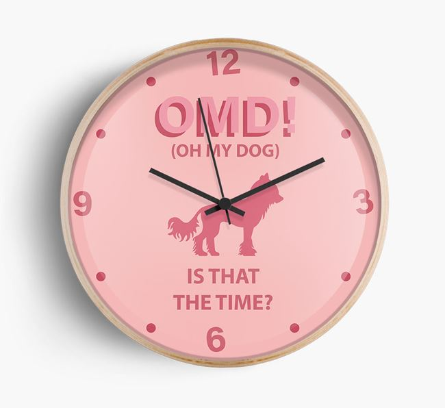 'Oh My Dog!' Wall Clock with Hairless Chinese Crested Silhouette