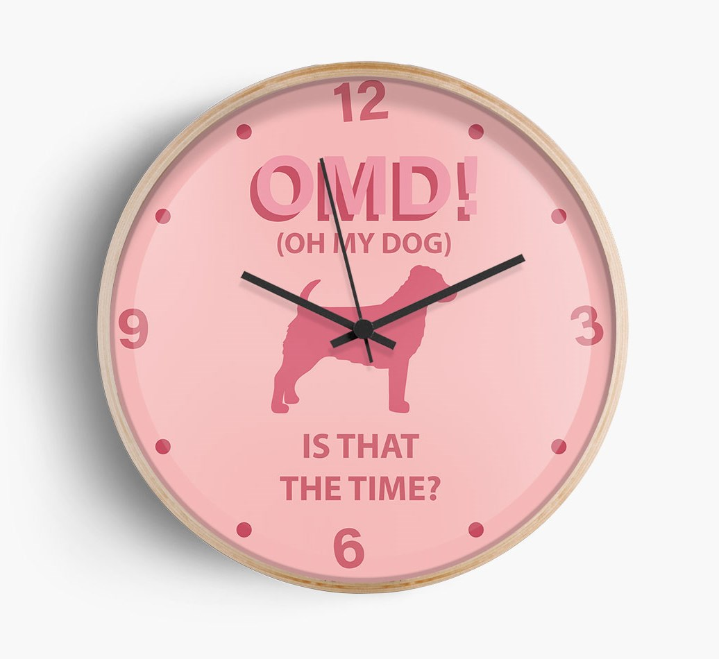 Front Facing Close Up of 'Oh My Dog!' Wall Clock with Jack-A-Poo Silhouette, with {size} frame