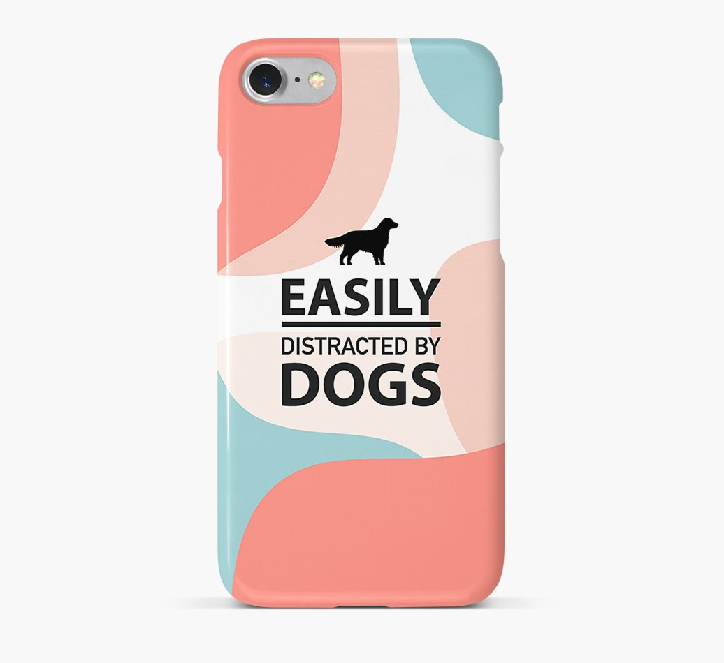 'Easily Distracted By Dogs' Phone Case with Flat-Coated Retriever Silhouette