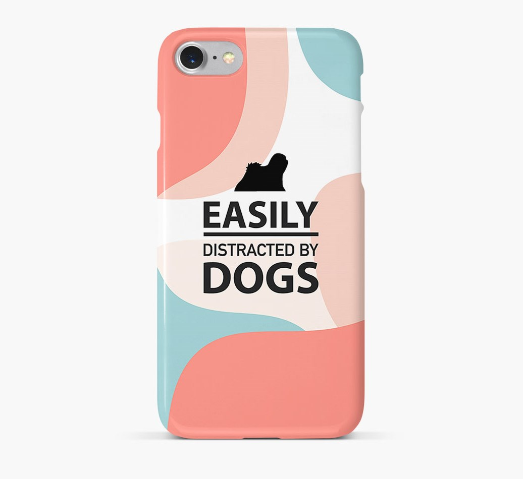 'Easily Distracted By Dogs' Phone Case with Lhasa Apso Silhouette