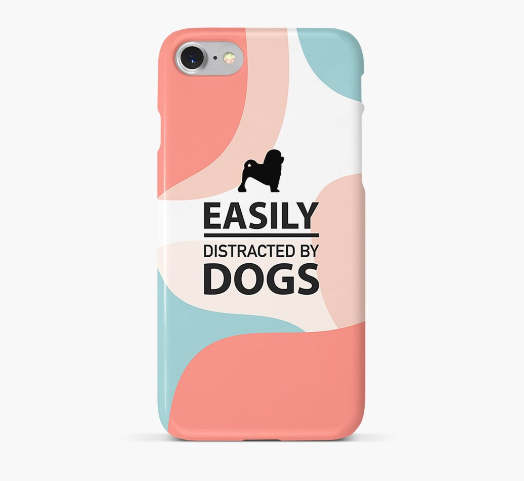 'Easily Distracted By Dogs' Phone Case with Löwchen Silhouette