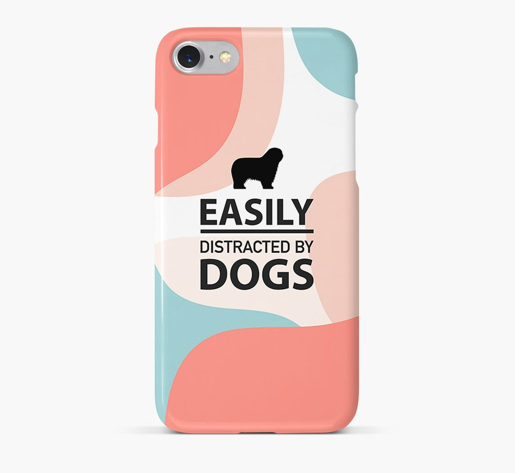 'Easily Distracted By Dogs' Phone Case with Polish Lowland Sheepdog Silhouette