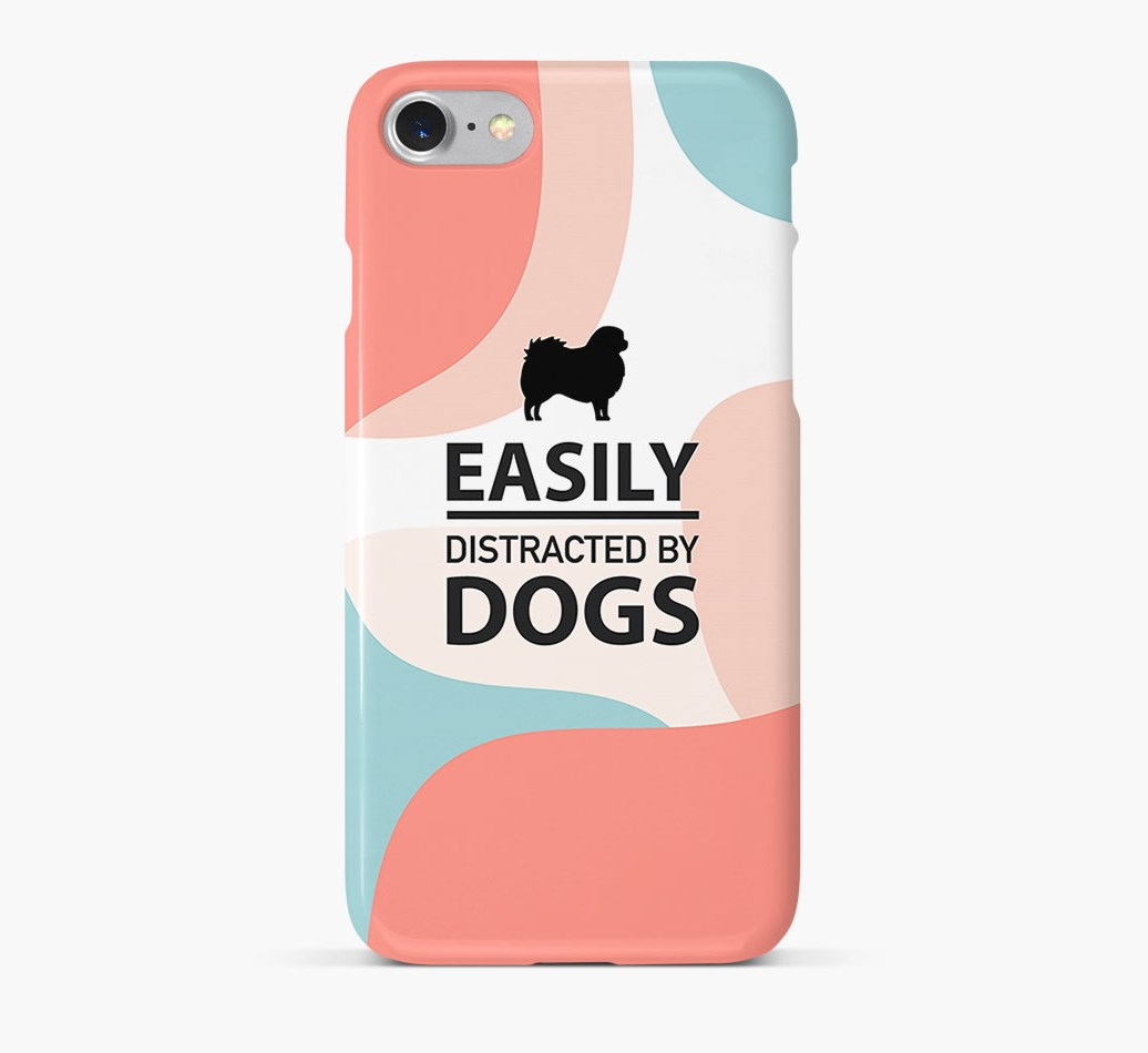 'Easily Distracted By Dogs' Phone Case with Tibetan Spaniel Silhouette