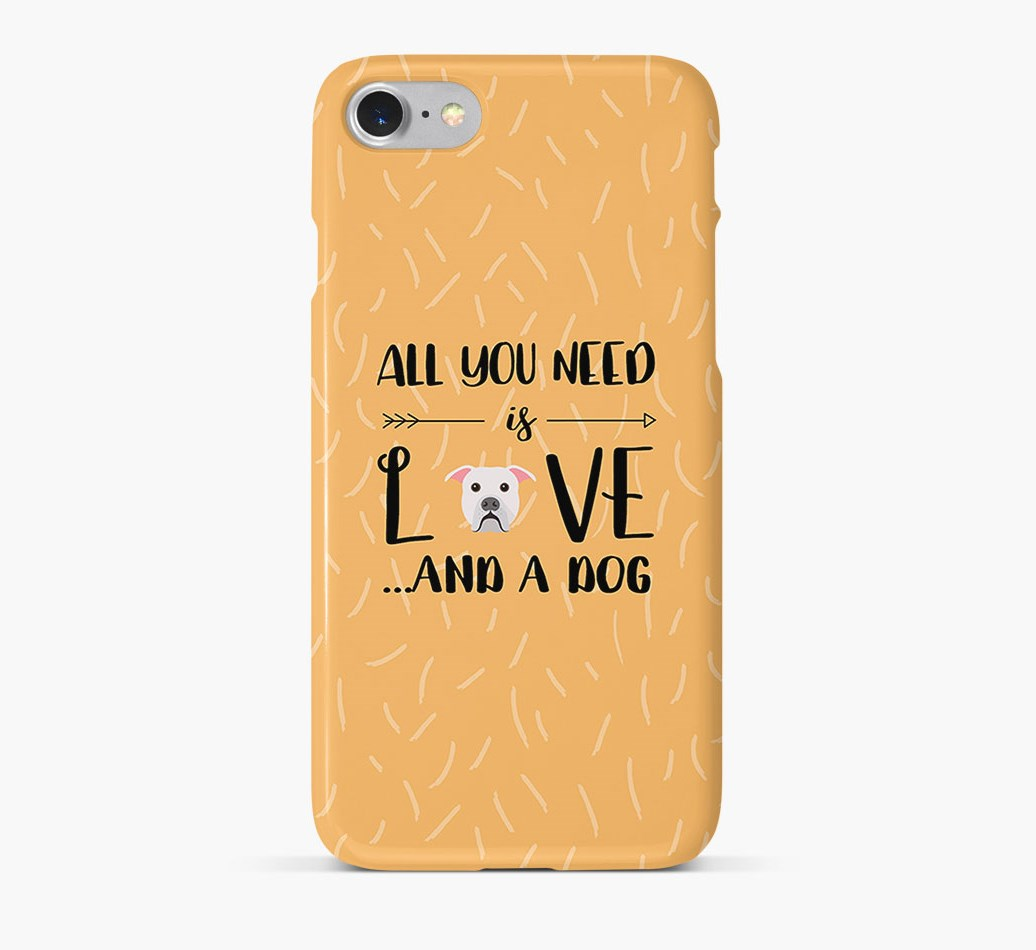 'All You Need is Love' Phone Case with American Bulldog Icon