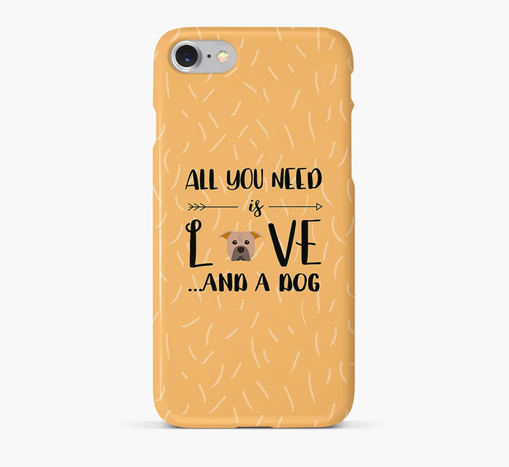 'All You Need is Love' Phone Case with American Pit Bull Terrier Icon