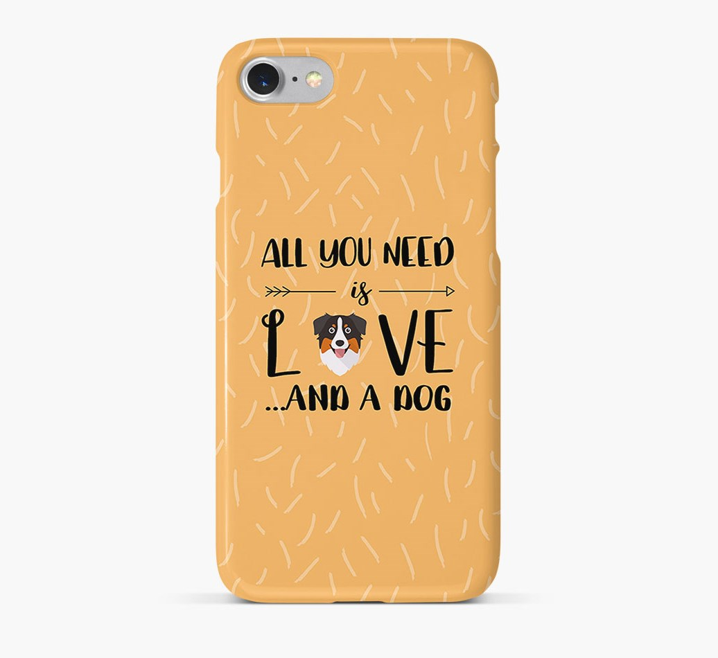 'All You Need is Love' Phone Case with Australian Shepherd Icon