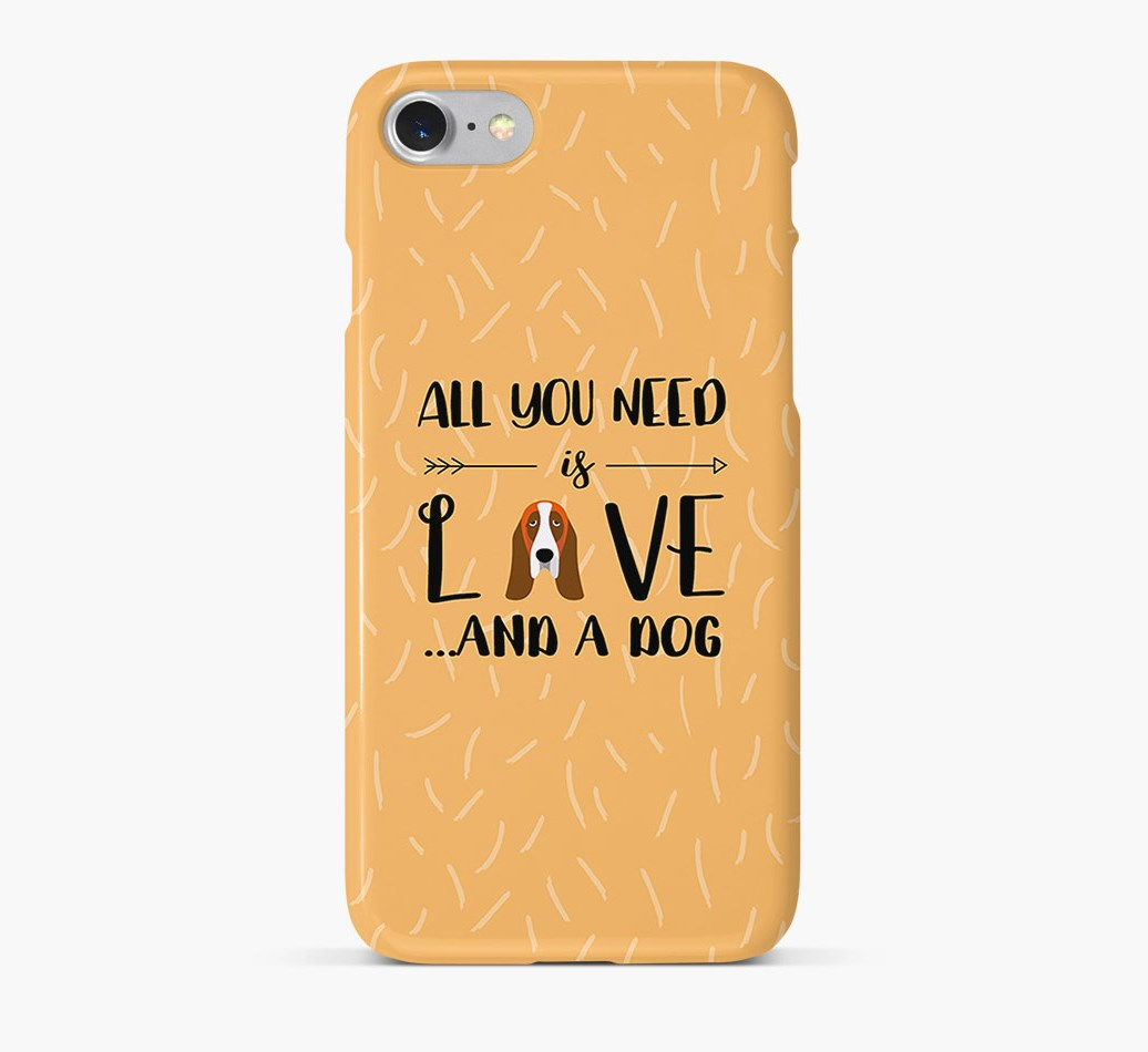 'All You Need is Love' Phone Case with Basset Hound Icon