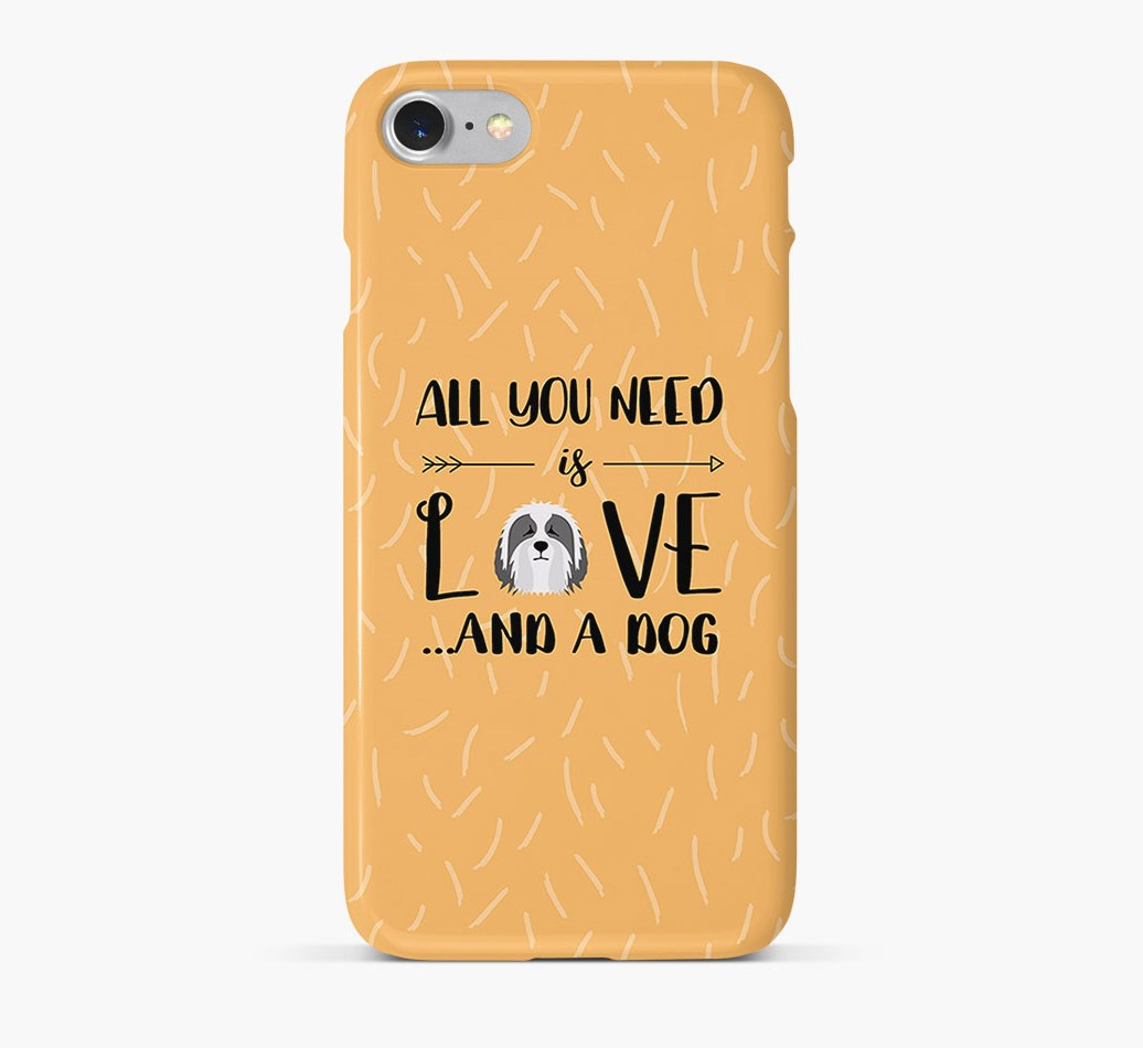 'All You Need is Love' Phone Case with Bearded Collie Icon