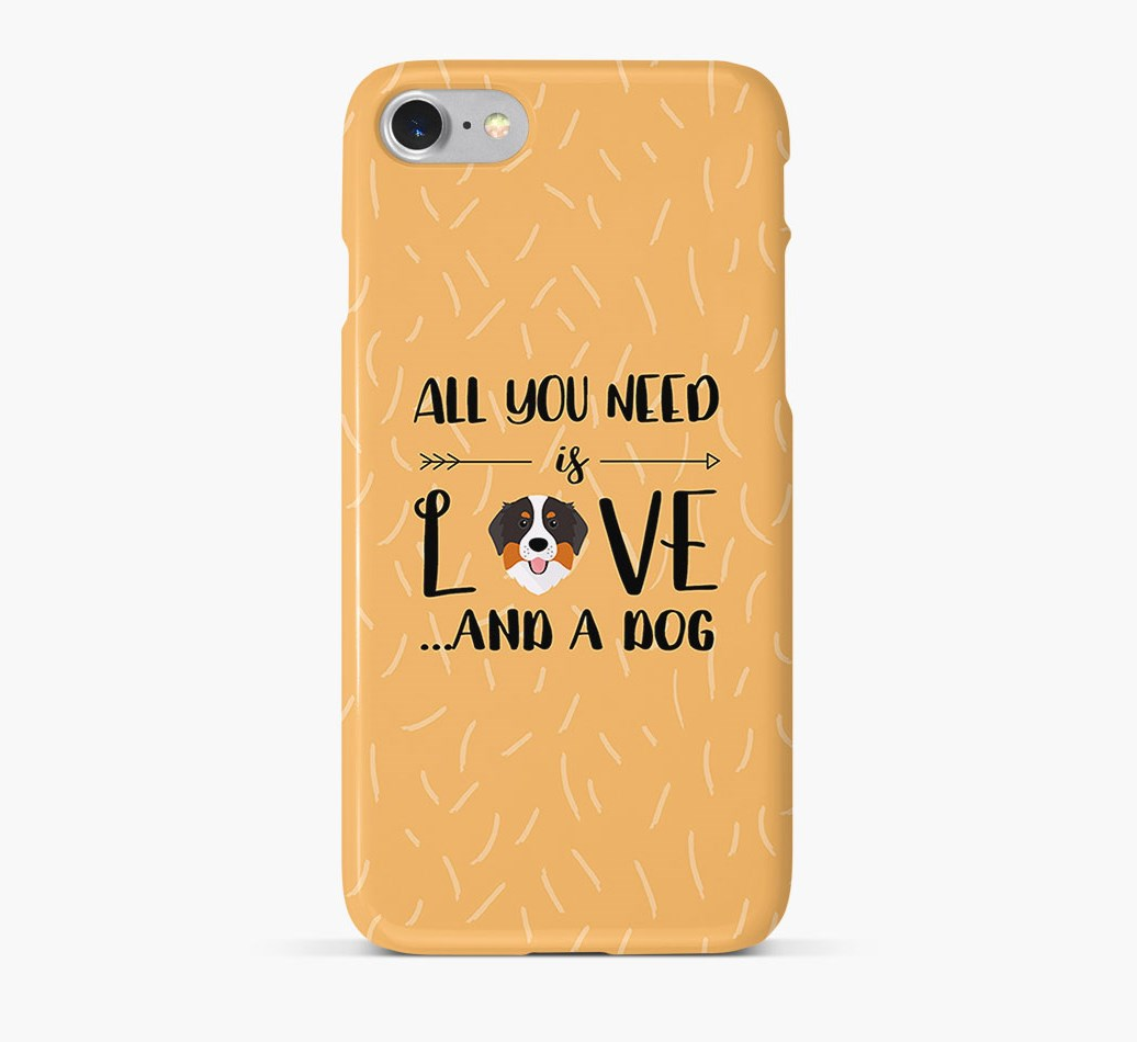 'All You Need is Love' Phone Case with Bernese Mountain Dog Icon