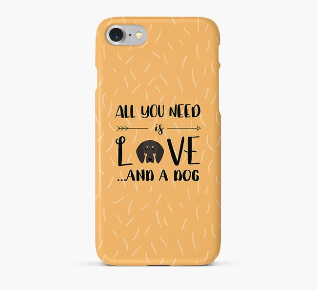 'All You Need is Love' Phone Case with Black and Tan Coonhound Icon