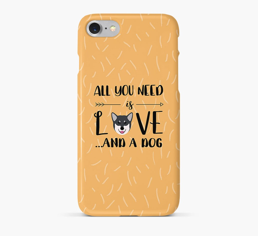 'All You Need is Love' Phone Case with Canadian Eskimo Dog Icon