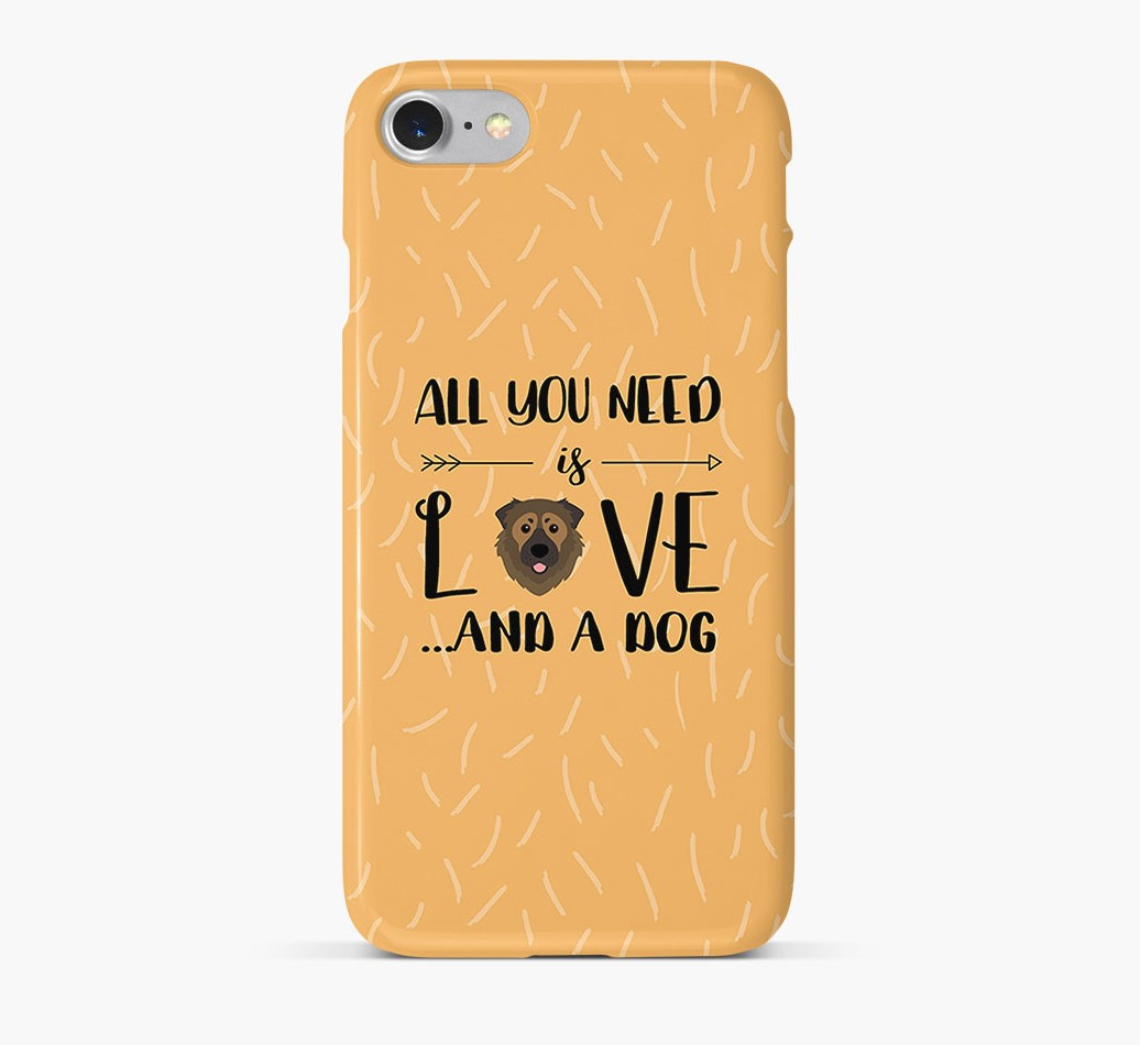 'All You Need is Love' Phone Case with Caucasian Shepherd Dog Icon