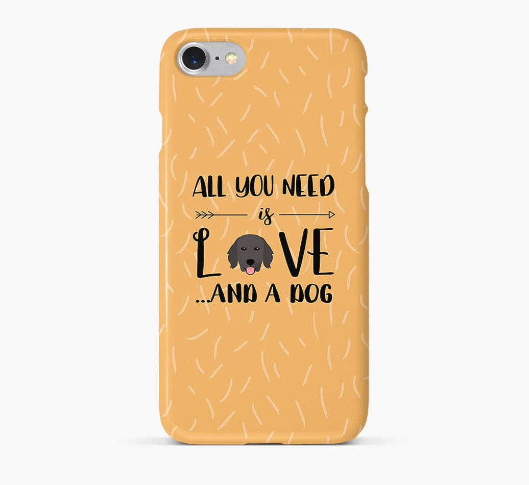 'All You Need is Love' Phone Case with Flat-Coated Retriever Icon