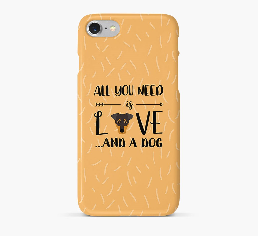 'All You Need is Love' Phone Case with German Pinscher Icon