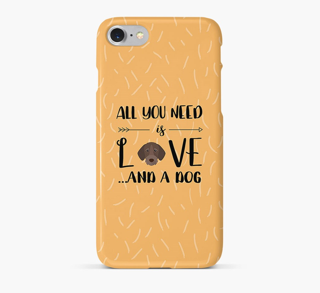 'All You Need is Love' Phone Case with German Wirehaired Pointer Icon