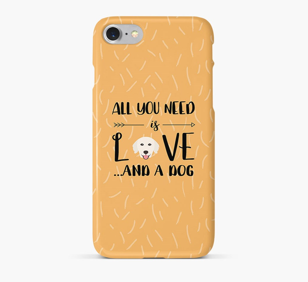 'All You Need is Love' Phone Case with Golden Retriever Icon
