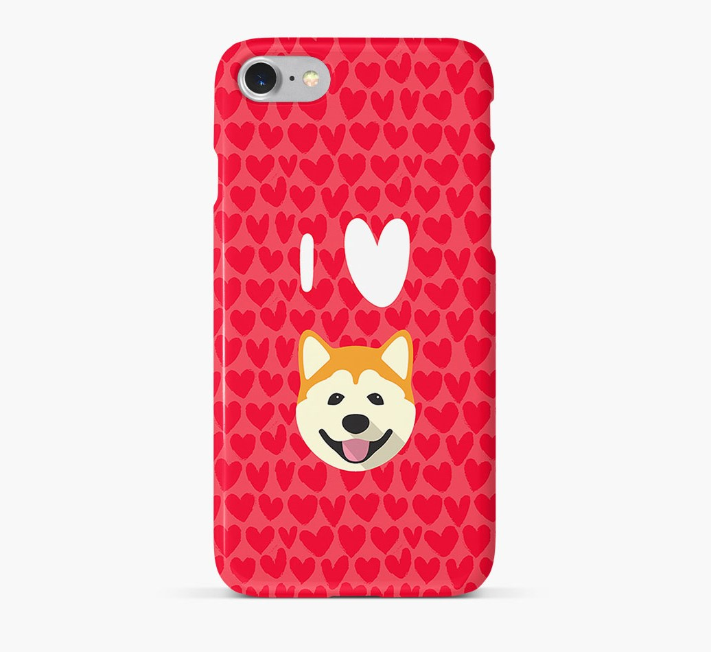 'I Heart {dogsName}' Phone Case with Akita Icon