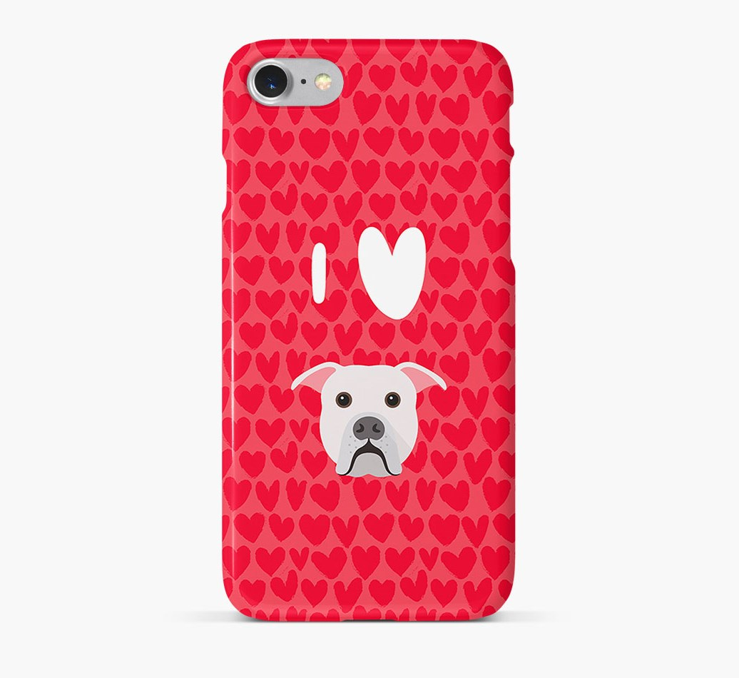 'I Heart {dogsName}' Phone Case with American Bulldog Icon